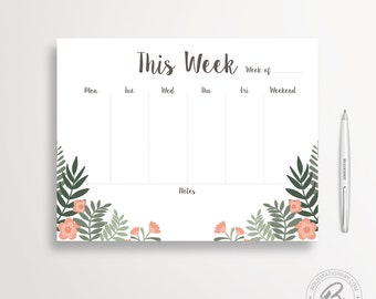 Weekly Planner Printable 02, Illustrated Weekly Desk Planner, Weekly Planner Kit, Printable Planner Inserts, Weekly Schedule, Weekly Agenda