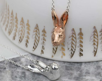 Sculpted Hare Head Pendant in Solid Silver or Rose Gold Vermeil