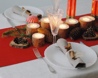 Christmas Table Centerpiece - Pine Branches Candle Holders Set Of 7 - Wooden Candle Holders - Rustic Home Decor - Winter Wedding Centerpiece
