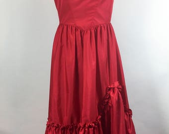 Vintage Prom Dress Red Prom Dress 1970s Prom Dress Red Ruffle Sleeves Hem Long Full Skirt Old West Cosplay