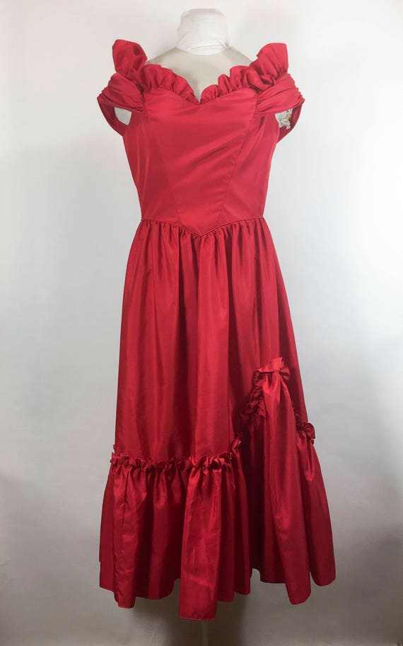 Items similar to Vintage Prom Dress Red Prom Dress 1970s ...