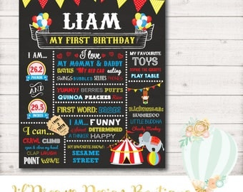 First Birthday Chalkboard, Carnival Circus First Birthday Chalkboard - DIGITAL - First Birthday Chalkboard Poster - 8x10/11x14/16x20