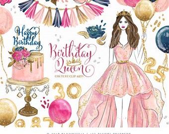 Birthday Queen Clip Art | Fashion Illustration Glam Girl Balloon Cake Celebration Graphics | Planner Stickers Digital Resources Cliparts