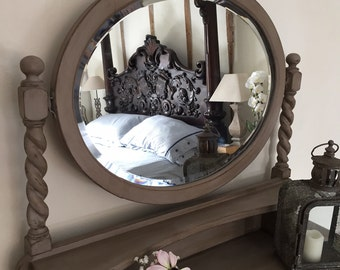 Baroque Style Vintage Grey Painted Dressing Table Chest of Drawers Sideboard Oval Mirror Handmade FREE DELIVERY
