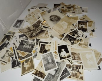 Vintage Collection of 1920s - 1940s Black and White Photographs Baby Kid Family 150+