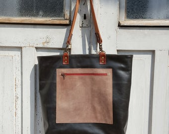 Dark blue leather tote **Free shipping**