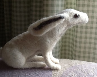 Needle felted white Hare