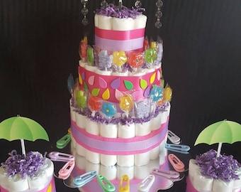 Umbrella Centerpiece Diaper Cake/Flower lollipops/Girl/Baby Shower/Gift basket