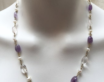 Amethyst, Quartz, and White Freshwater Pearl Ancient Roman, Byzantine Style Beaded Chain Necklace