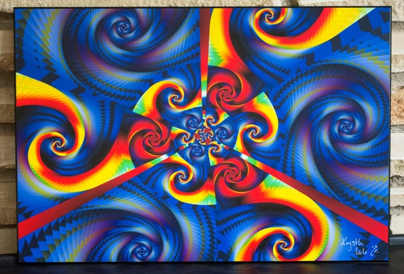 Original Psychedelic Mandala Op Art. Digital Artwork. Fractal Art. Mandalas. Abstract Wall Art. Art on Wood. READY to HANG!