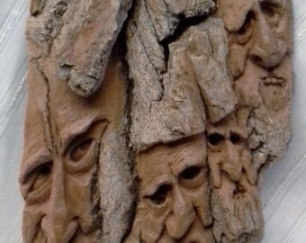 Spectacular Large Grimm Inspired Hand Carved Cottonwood Bark Family Tree Come To Life Tree Spirits #1