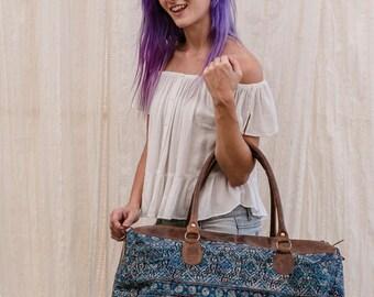 Embroidered Tribal Bag, Large Shoulder Bag, Weekend Bag, Vintage Leather Bag, Boho Ethnic Tribal Handbag, Travel Bag