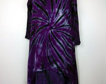 Purple dress, Women's dress, Tie dye dress, Long sleeve dress, Cotton Dress, Dress UK 14-16, Hippy Dress, Bohemian Dress, A-Line Dress
