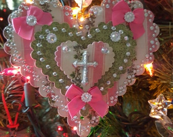 Pink and green, bows, cross, and bling, bling, bling on a heart Christmas ornament, victorian/traditional