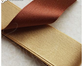 Gold & Brown Sparkly Ribbon - 4cm x 3m - Great for crafts and giftwrap or golden anniversary