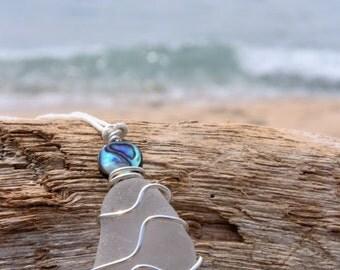 Sea Gypsy 'Kekoa' Sea Glass and Paua Shell Pendant Necklace