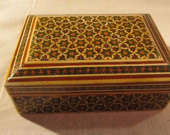 Vintage Middle Eastern Anglo-Indian Micro Mosaic Khatam Inlaid Box