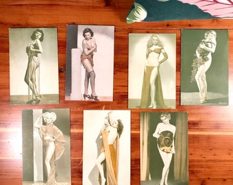 Collection of Girlie Mutoscopes Pinup Exhibit Cards.   19 cards from 1920's-1950's.  Many colorized.  Condition varies.  Please see pics