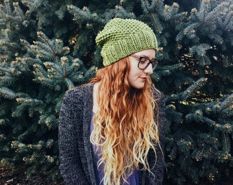 Knit Slouchy Hat Seamless Textured Beanie|| THE WISTERIA