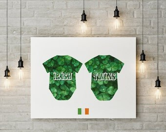 Irish twins art print Baby boy girl digital art Green nursery decor Baby shower Digital download Clover Baby romper print St Patricks day