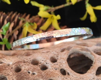 Hand Forged Sterling Silver Bangle Bracelet with Hand Stamped Decorative Details