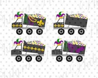 Mardi Gras Dump Truck, Mardi Gras Truck Svg, Digital Cutting File, PDF,PN