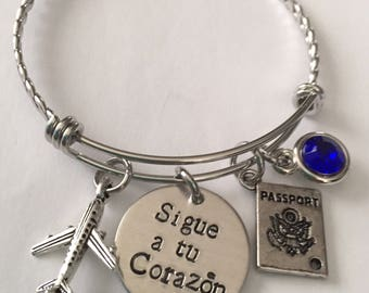 travel bracelet-sigue a tu corazon travel bracelet-stainless steel bracelet