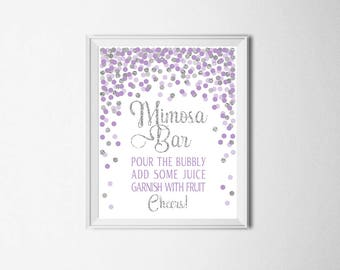 Mimosa Bar Sign Printable Birthday Party Table Sign Bridal Shower Bar Sign Purple Silver Confetti Mimosa Bar Sign Wedding Sign Lavender Gray