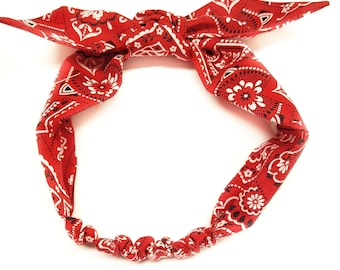 Red - Bandana Rockabilly Top Knot Headband, Paisley Headwrap,Red Baby bandana ,Red Head Scarf,Red Paisley knot headband, photo prop,Top knot