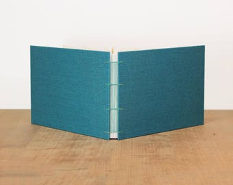 Landscape Sketchbook, Wide Sketchbook, Art Journal, Blank Journal, Watercolor Sketchbook, Lined Notebook, Turquoise, Cloth Notebook, A5