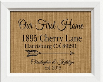 Closing Gift | Our First Home Burlap Print | Personalized Address Sign | New House Gift | New Homeowner, Arrows, Arrow