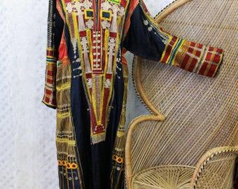 Vintage black embroidered floral Afghan indian 70s boho smock gypsy kaftan maxi dress S M L