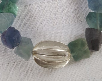 Blue Green fluorite with silver