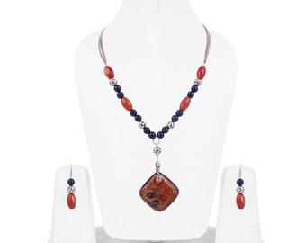 semi precious stone neckpiece/ lampwork/jewellery