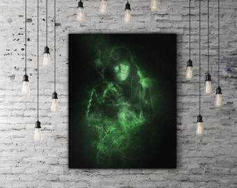 Green Arrow Poster, DC Comics Superhero Room Decor, Movie Poster, Arrow Print, Archer Oliver Queen Poster, Smoke Art, DC Poster, Black Decor