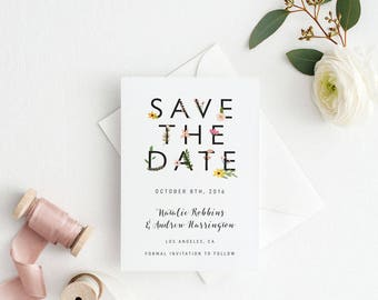 Printable Save The Date Printable - Romantic Botanical Wedding - Ready to Print PDF - Wedding Invites - Letter or A4 Size (Item code: P813)