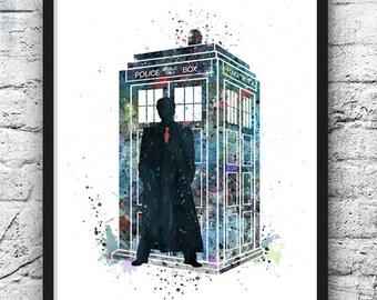 Tardis, Doctor Who Watercolor, Dr. Who Art, Movie Poster, Art Print, Home Decor, Wall Art, Nursery Decor, Kids Room Decor - 359