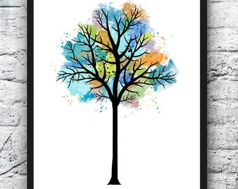 Tree Watercolor Print, Earth Watercolor, Art Print, Painting, Colorful Tree Art, Wall Art, Home Decor, Home & Living, Fine Art - 366