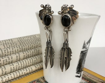 SALE***Sterling Silver Native American Taxco Onyx & Feather Earrings