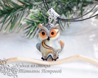 Forest owl, owl pendant, owl necklace, necklace lampwork, glass owl, owl lampwork, owl jewelry, Animal lampwork, birds lampwork, glass