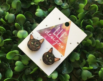 Itty Bitty Black Kitty Stud Earrings. Crazy Cat Lady. I love Cats. Cat Crazy. Black Cat. Life's too short to wear boring Jewellery.