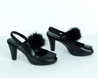 90s Ostrich Feather Black Leather Platform Pumps High Heels Size 7.5
