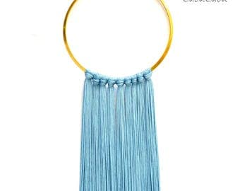 Long Silk Fringe Necklace, in multiple colors, choker tribal neck ring african jewelry with gold bronze