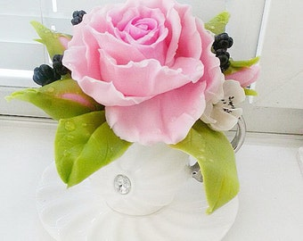 Fake Flower Arrangement with Roses - Mothers Day Gift, Home Decor, Housewarming Gift