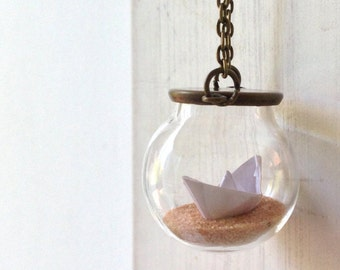 Long necklace with origami paper boat-marine style-summer necklace