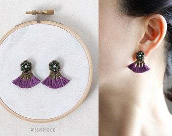 TASSEL STUD EARRINGS / purple earrings / handmade jewelry earrings / wishpiece