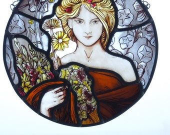 Art Nouveau Mucha Stained Glass Panel. Handmade, Arts and Crafts