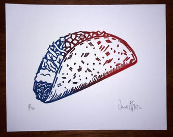 Taco Time- Color Variant Linocut