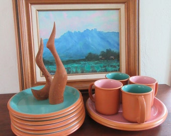 Vintage Crown Corning Set of 12 PERFECT Condition Sonora Pink and Aqua Blue Terra Cotta Rim, 8 Plates, 4 Mugs, Mid Century Dinner Ware Japan