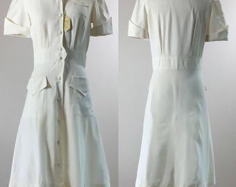 1945 Deadstock Crisp White Rayon Puff Sleeve Nurse Uniform | White Angel | Size Medium